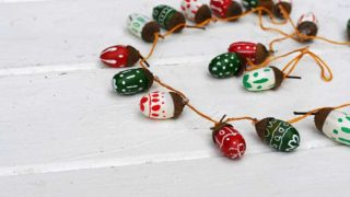 painted acorn Christmas decoration garland
