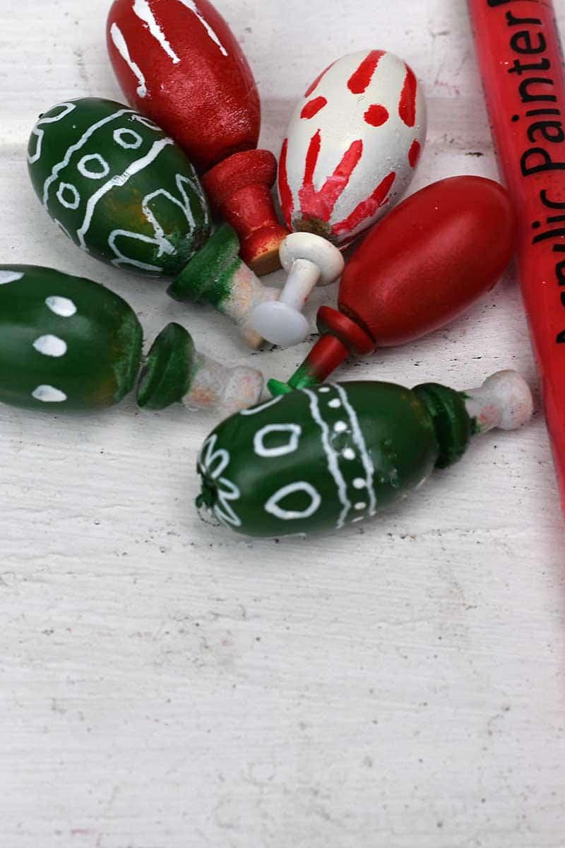 Christmas painted acorns