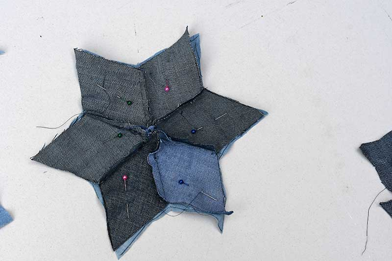 Making denim quilted stars.