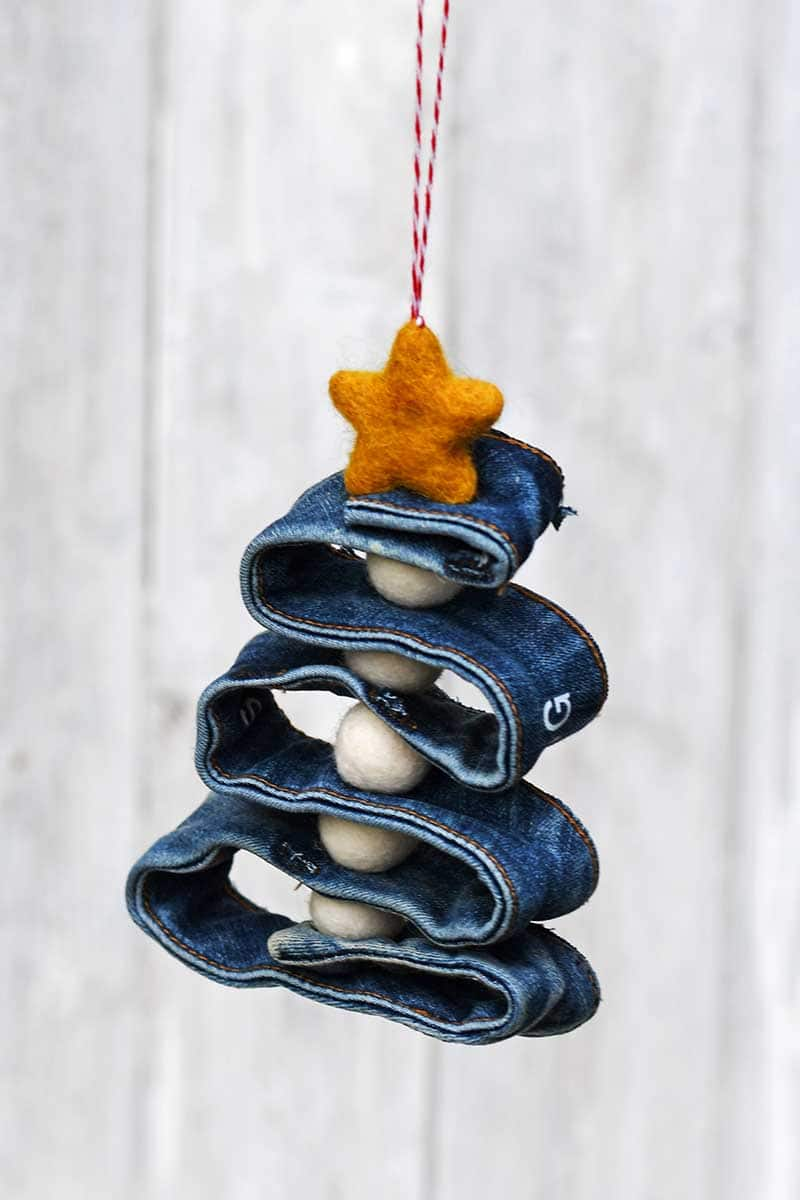 recycled denim Christmas ornament