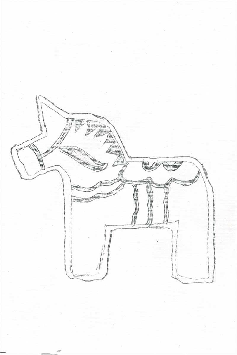 Dala horse ornament stencil