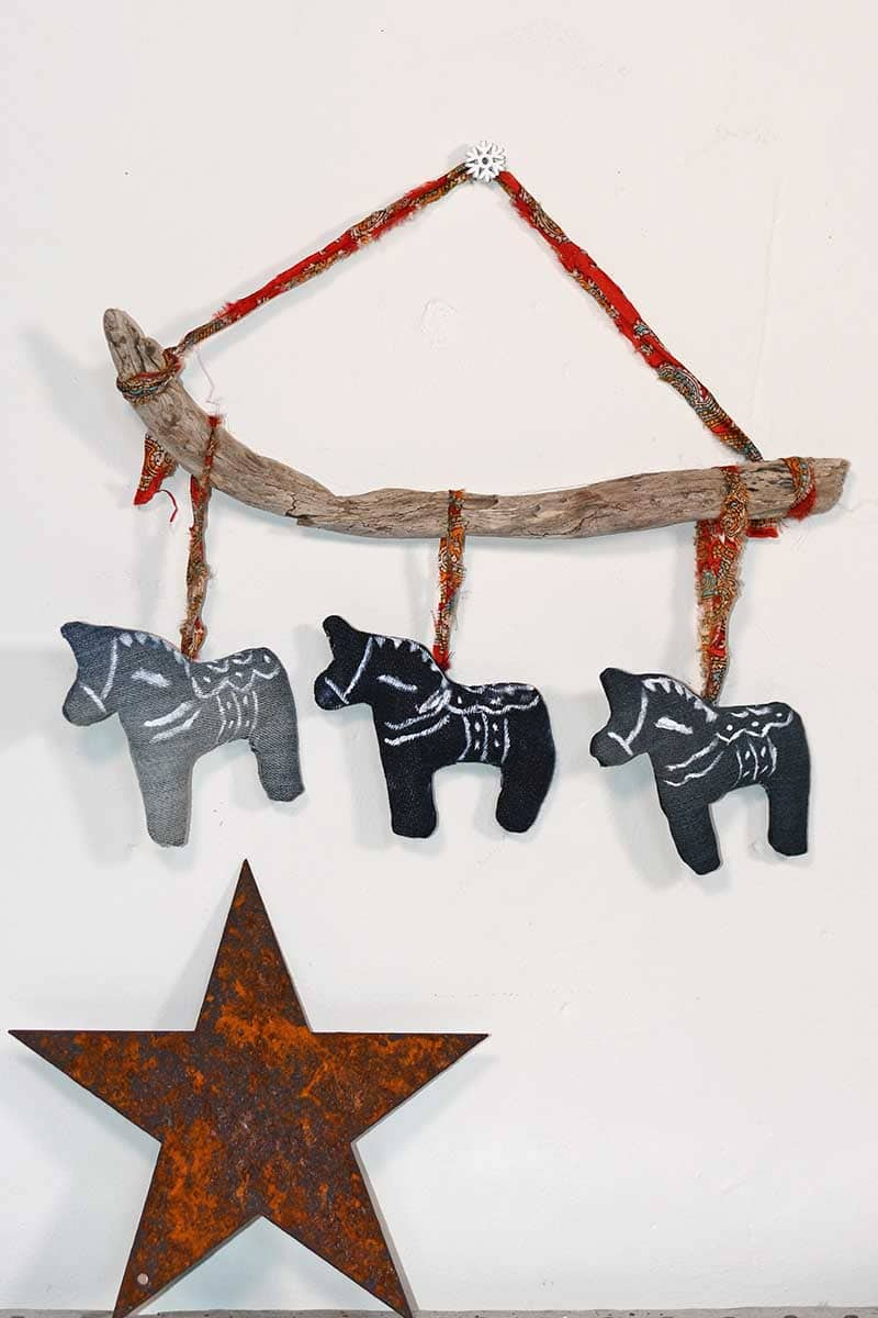 Denim Dala horse wall hanging