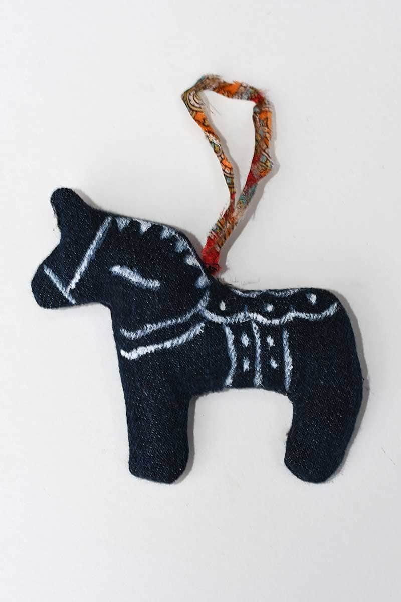 Upcycled Denim Swedish Dala Horse Christmas Ornament