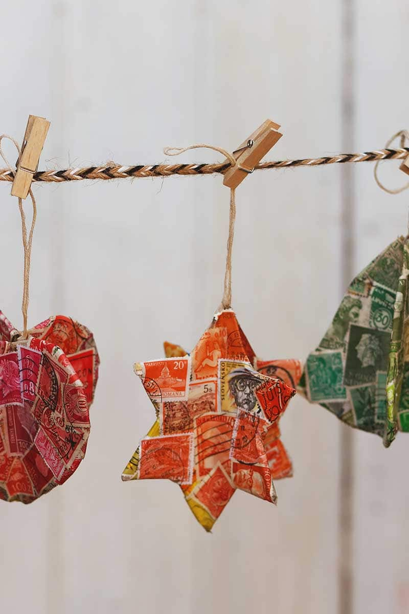 upcycled postage stamp Christmas decorations