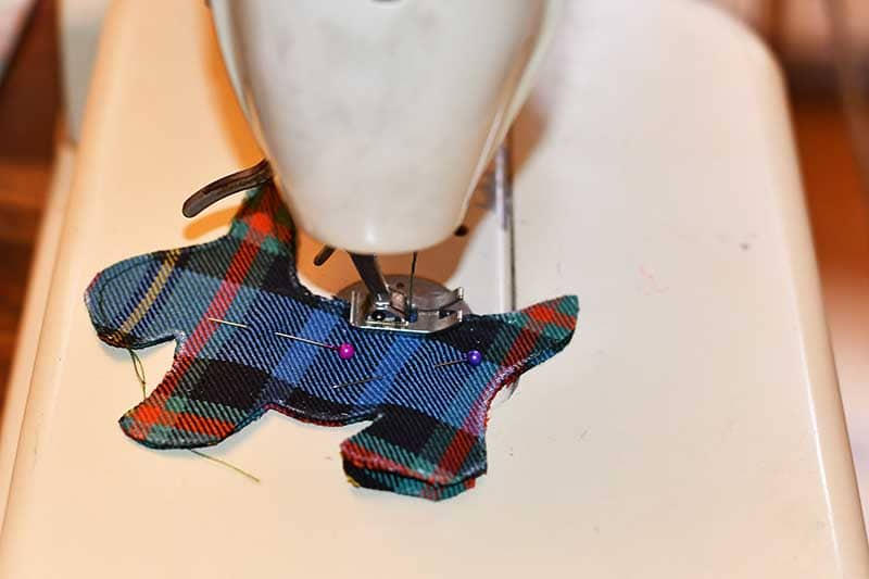sewing the tartan on a machine