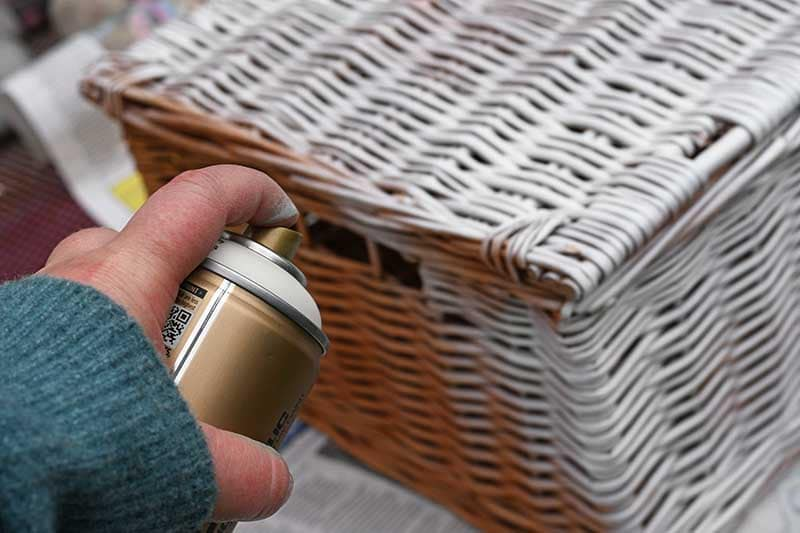 Spray painting wicker basket