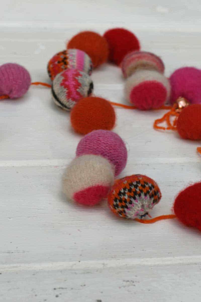upcycled Christmas garlands