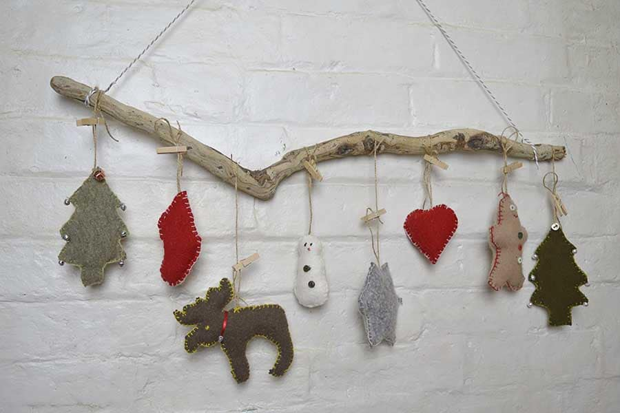 Upcycled sweater felt cookie cutter garland