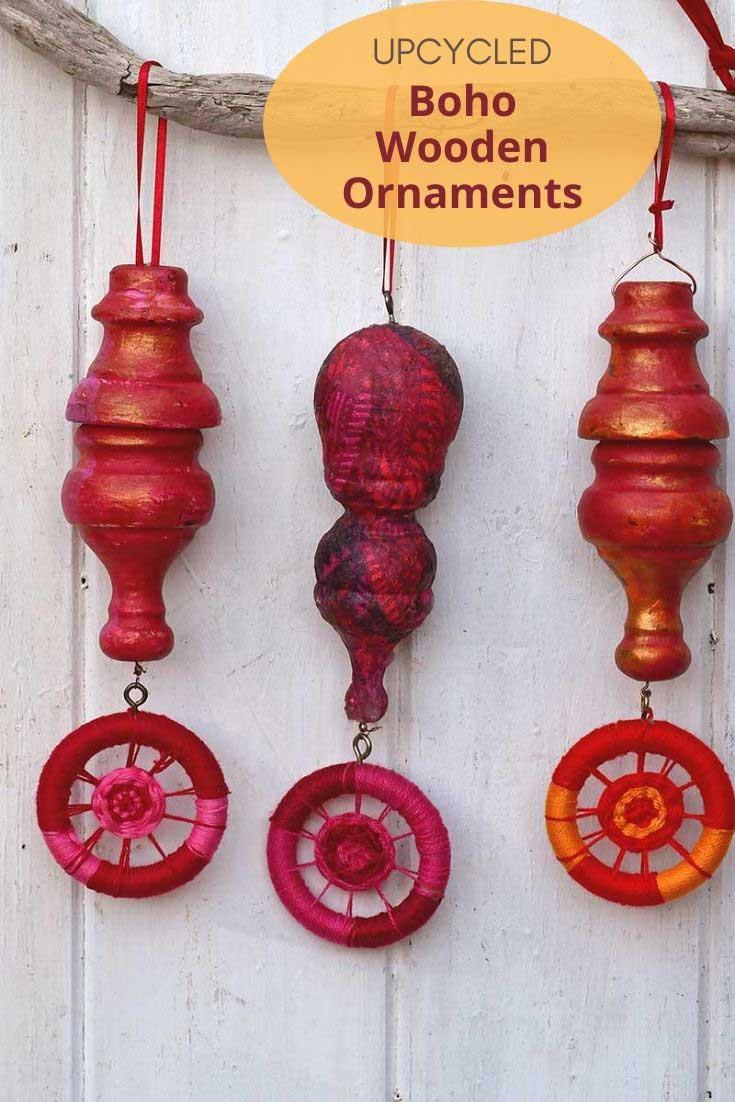 Upcycled Boho DIY wooden ornaments
