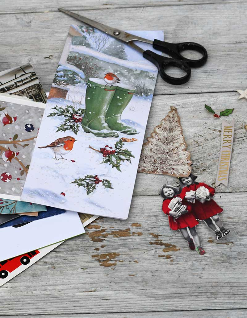Cutting out Christmas cards