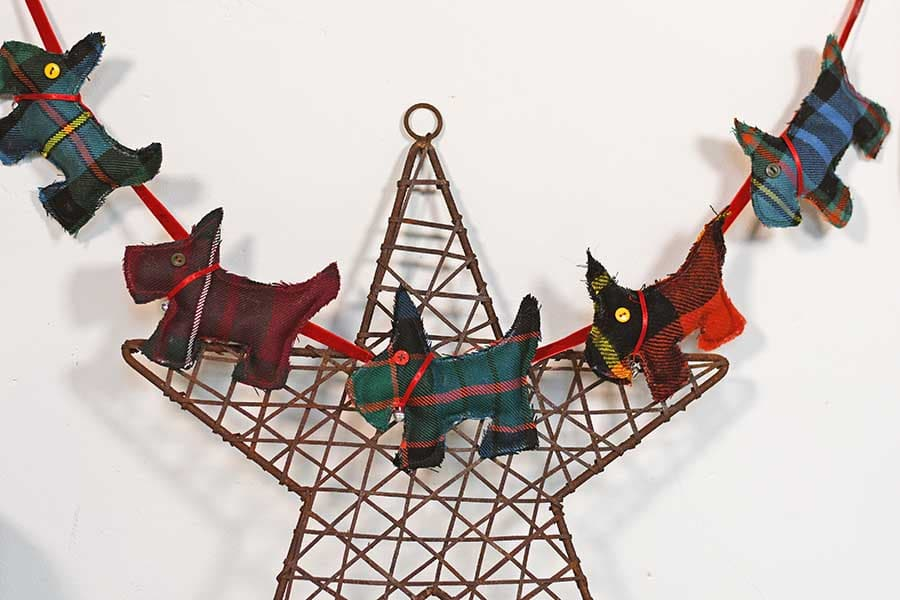 tartan scottie dog ornaments