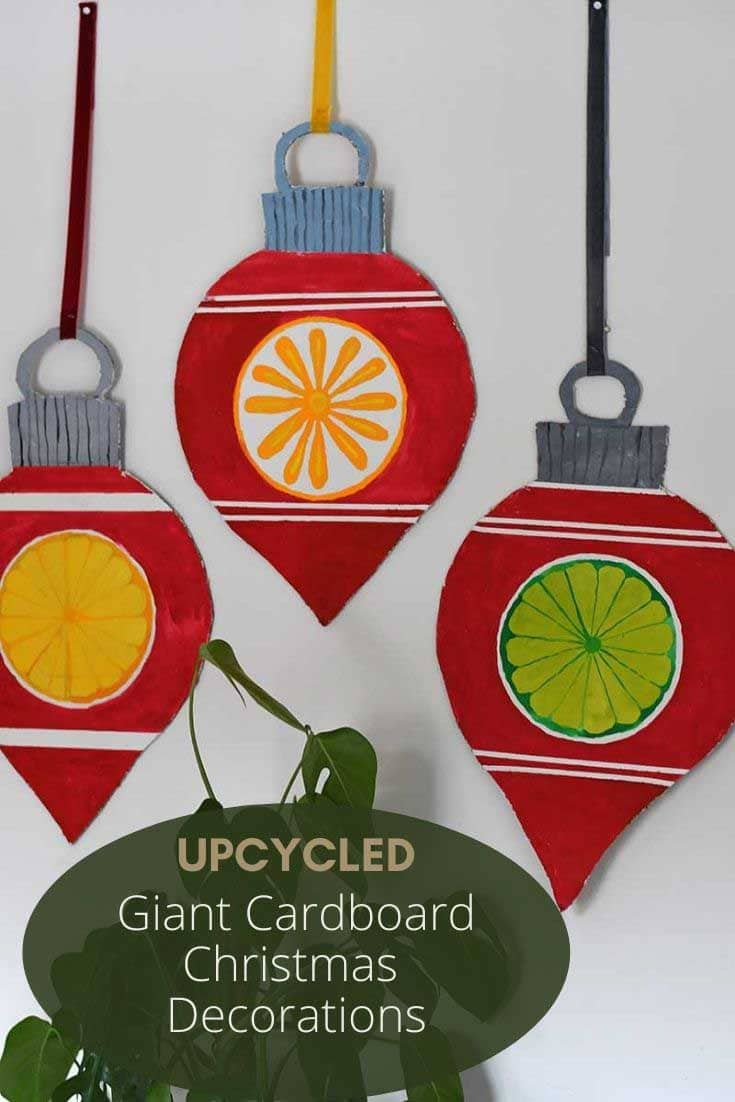 upcycled cardboard Christmas decorations