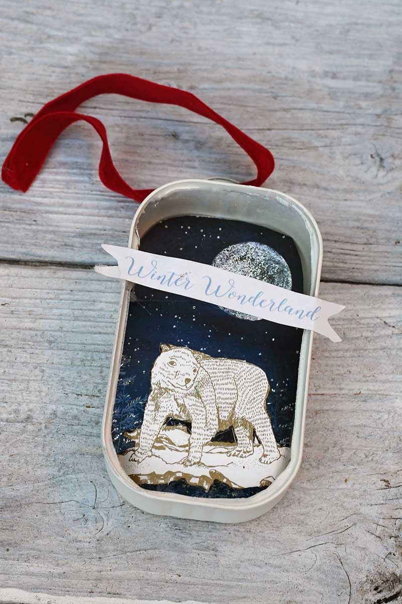 Polar bear winter wonderland ornament
