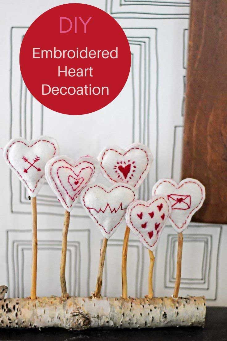 Embroidered Hearts decoration