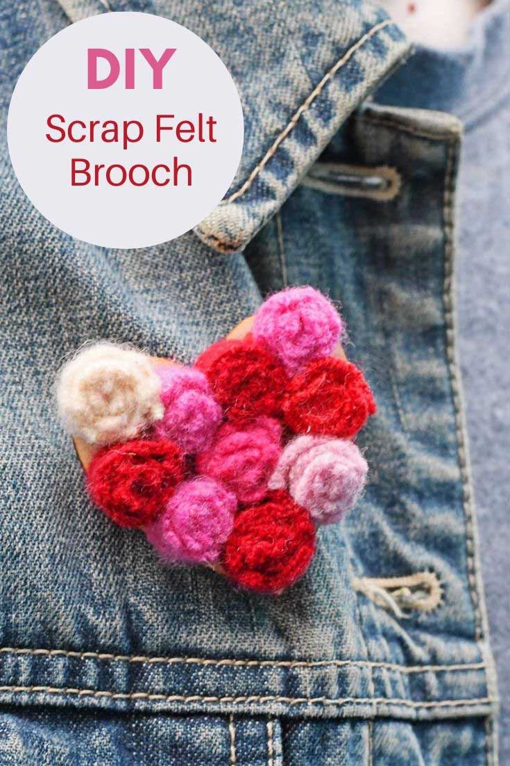 DIY scrap felt heart brooch on denim