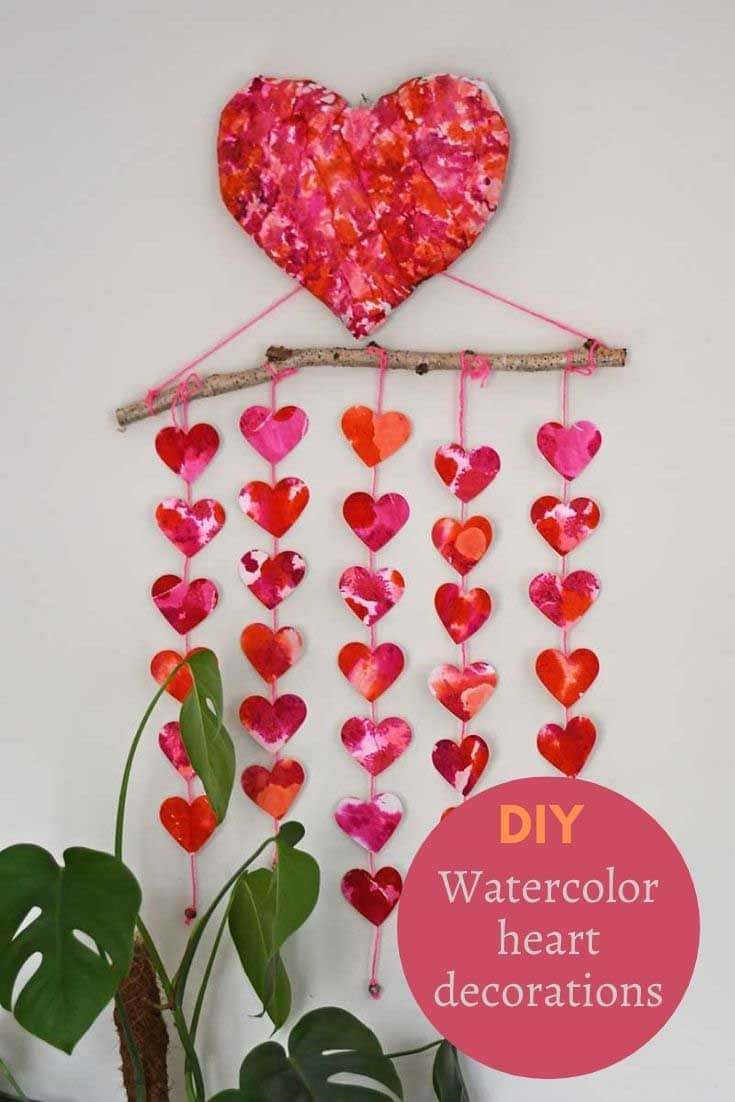 décorations de coeur aquarelle