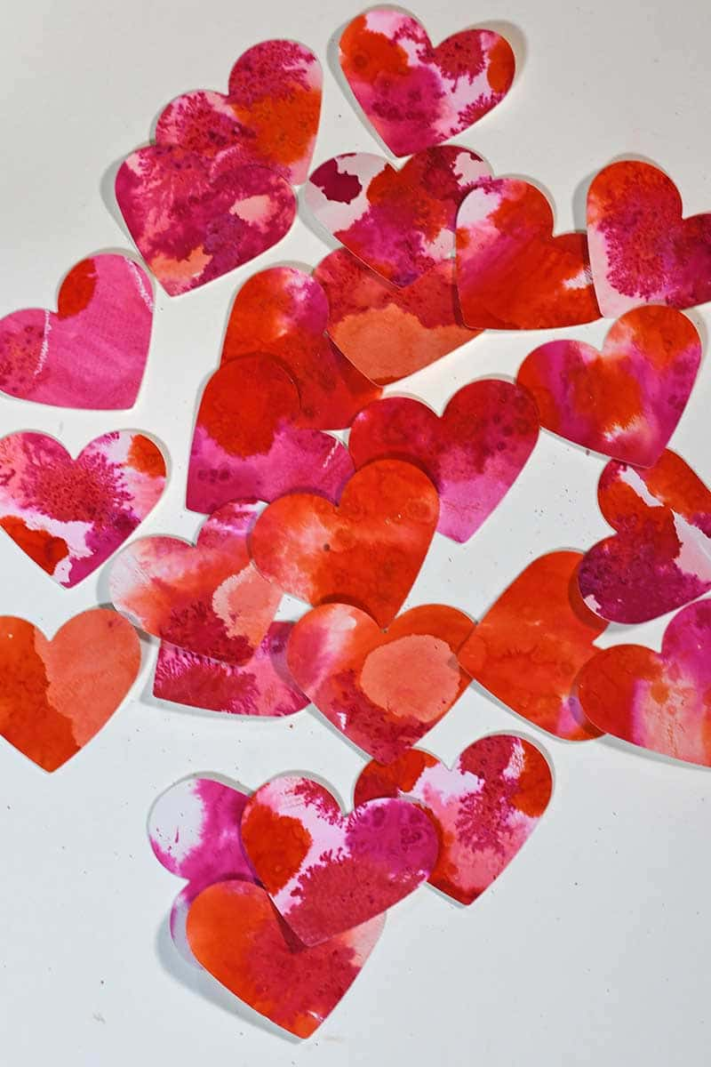 Watercolor pink paper hearts