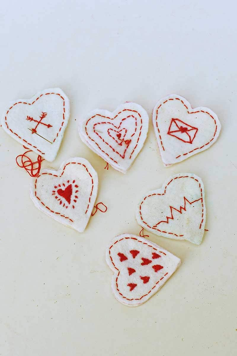 all six embroidered hearts