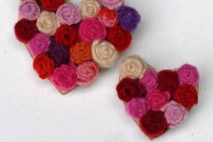 upcycled sweater felt flower brooches