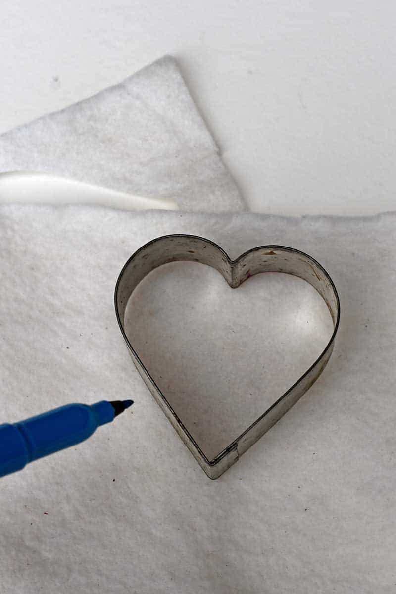 drawing around the heart cookie cutter
