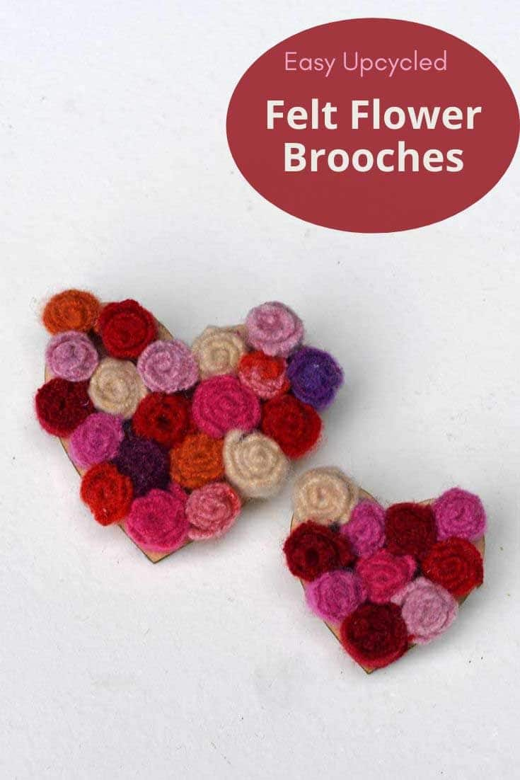 easy heart shaped felt flower brooch