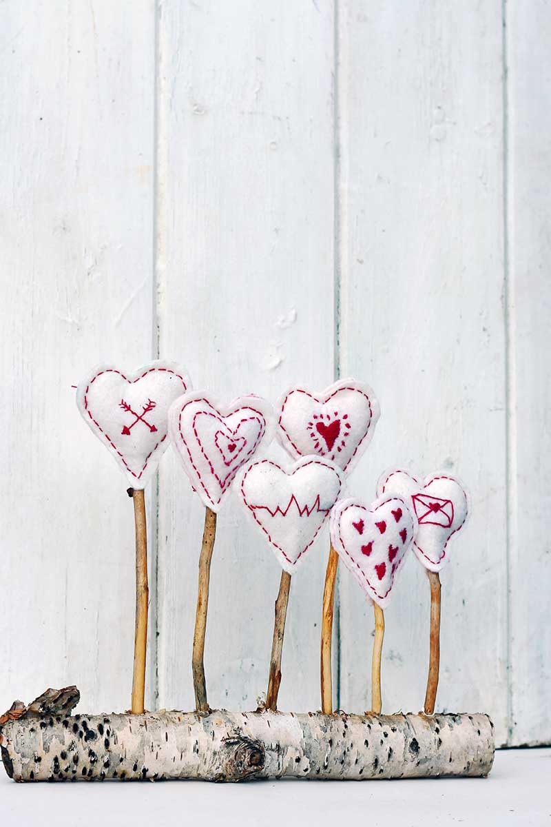 Embroidered hearts craft decoration