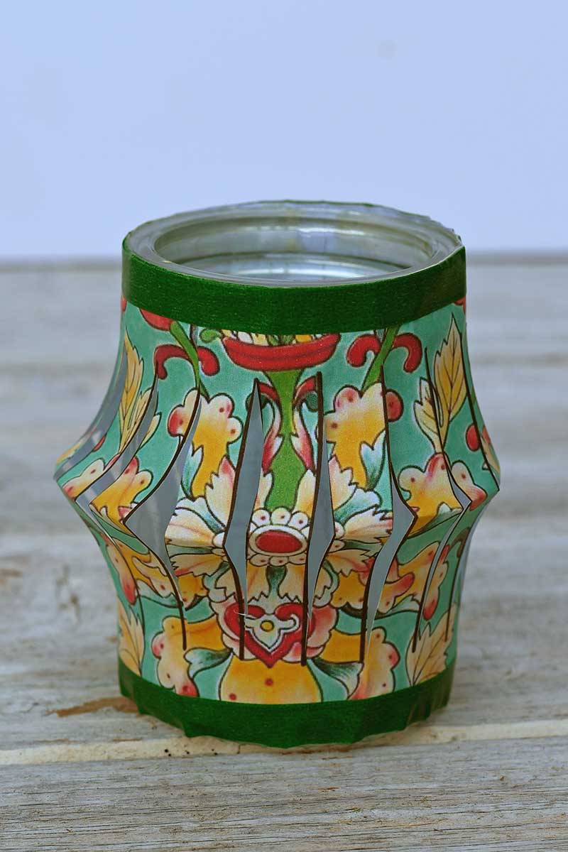 Chinese Lantern tea light jar