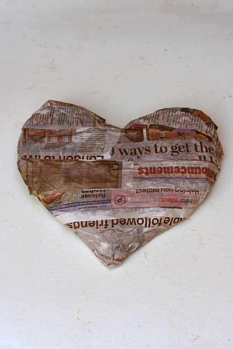 Newspaper paper Mache heart