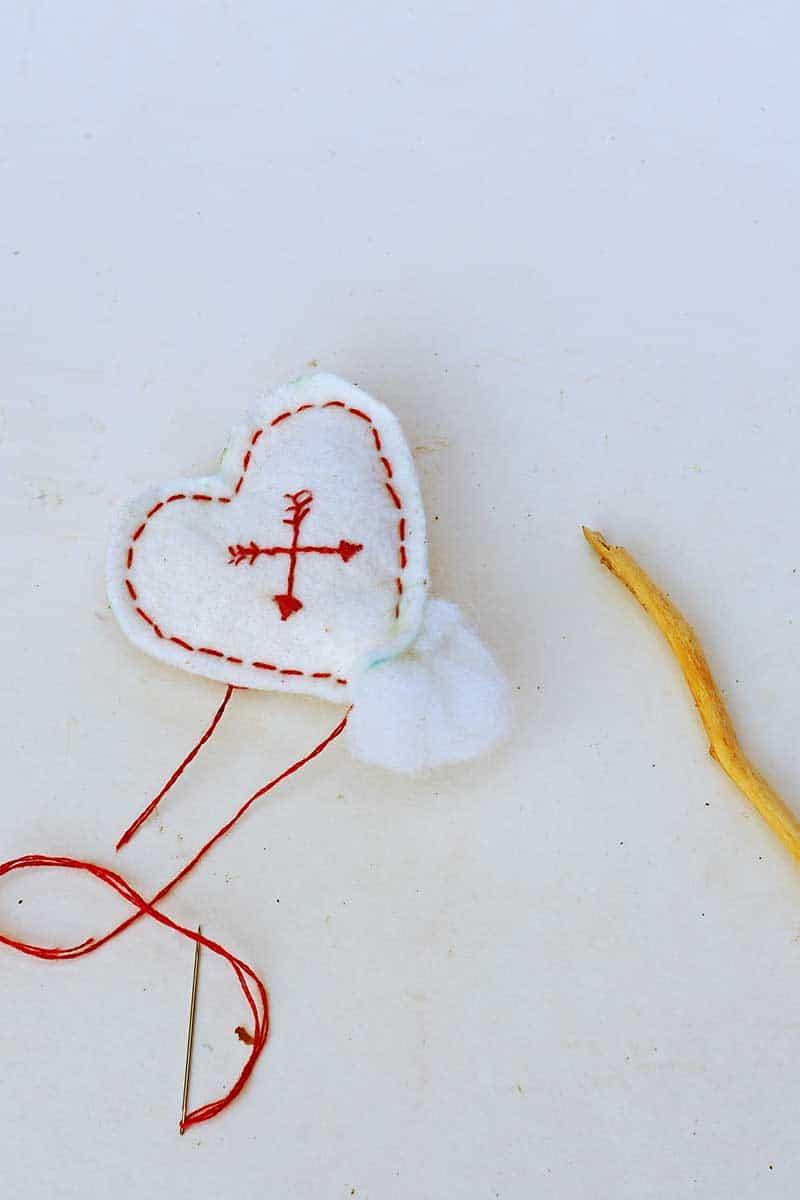Stuffing the felt hearts