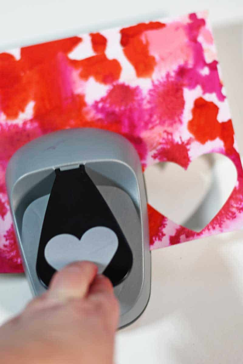 Punching paper hearts