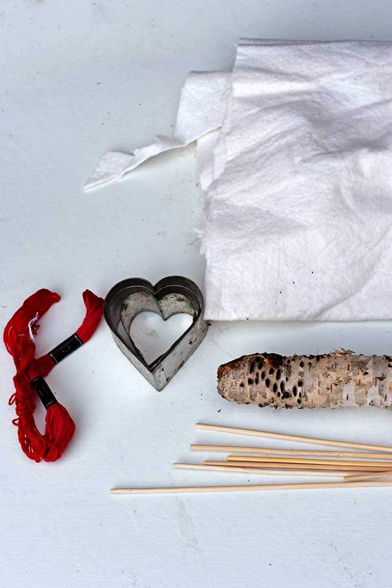 what you need to make embroidered hearts