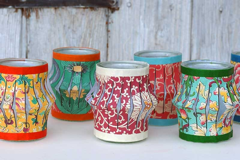 Mini Chinese Paper Lantern Tea light Jars