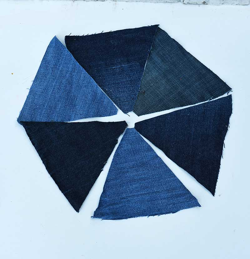 jeans patchwork triangles