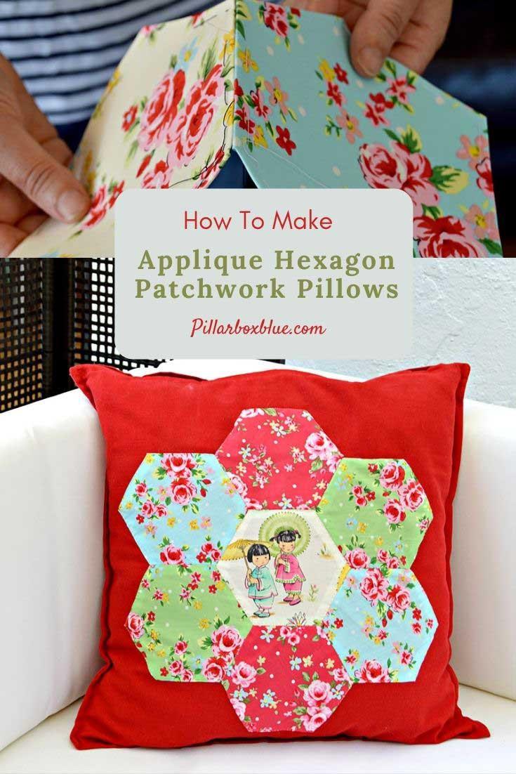 DIY applique hexagon patchwork pillow