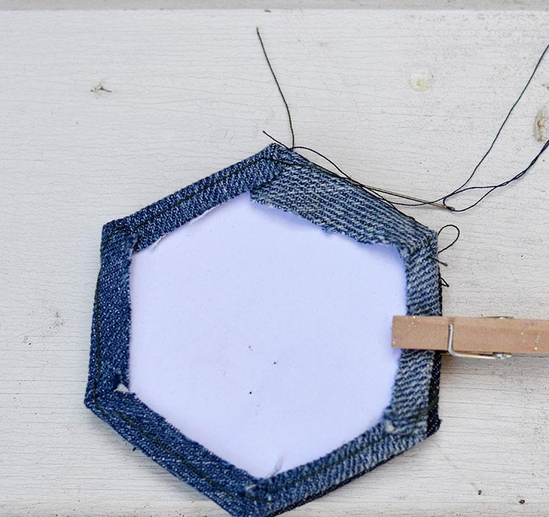 stitched denim hexagon
