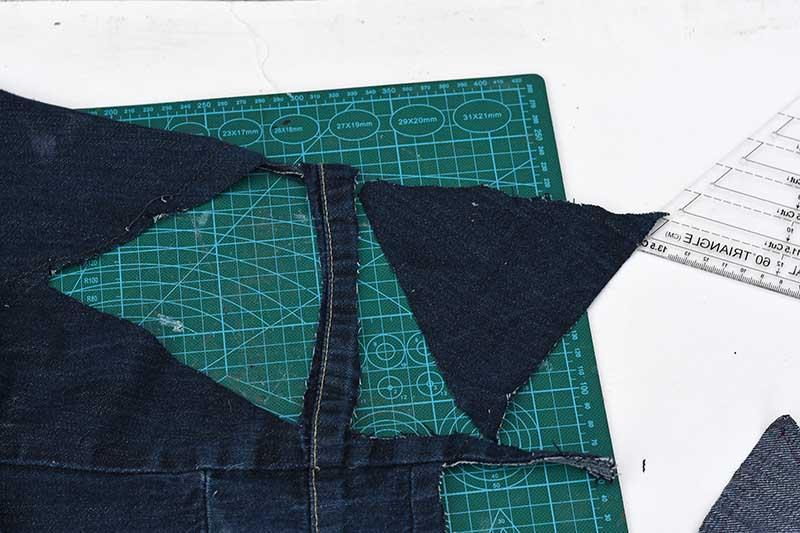 cut out triangles denim