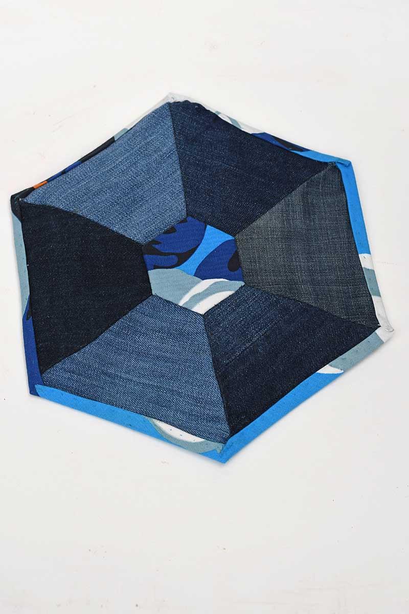 patchwork denim hexagon placemats