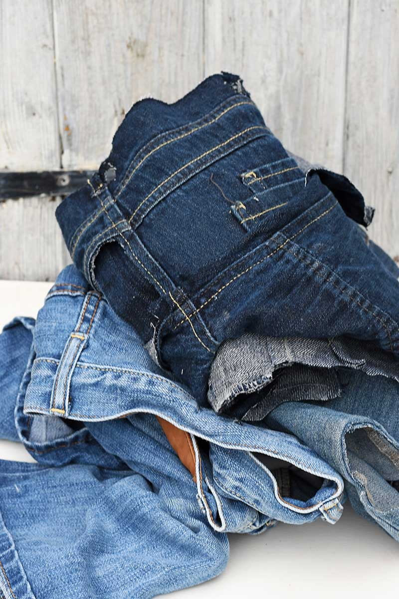 jeans scraps for patchwork denim placemats