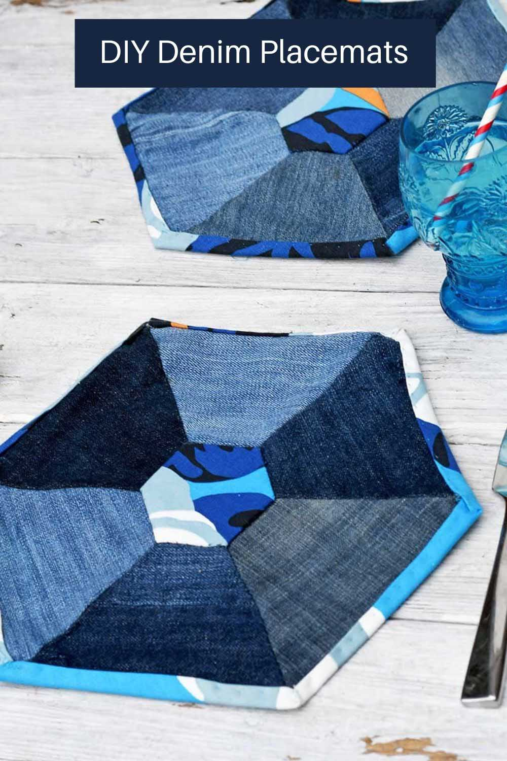 Hexagon placemats with denim patchwork