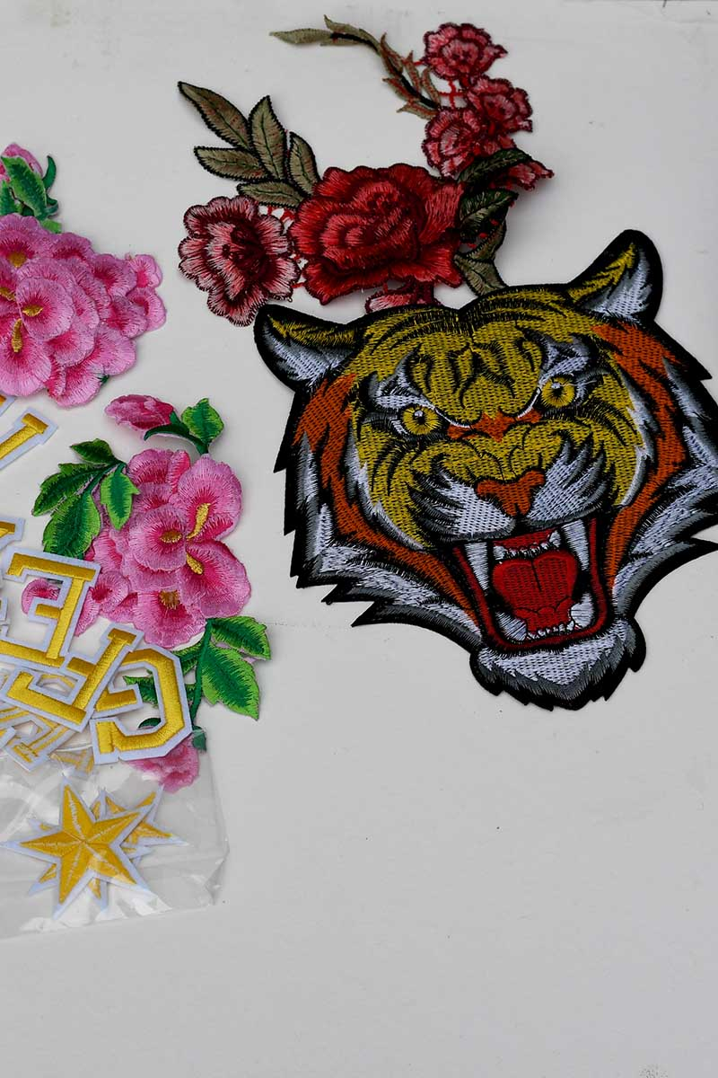 Embroidery patches for tiger pillow