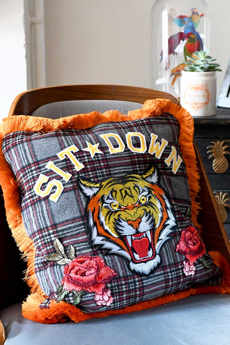 Gucci inspired upcycled tiger pillow