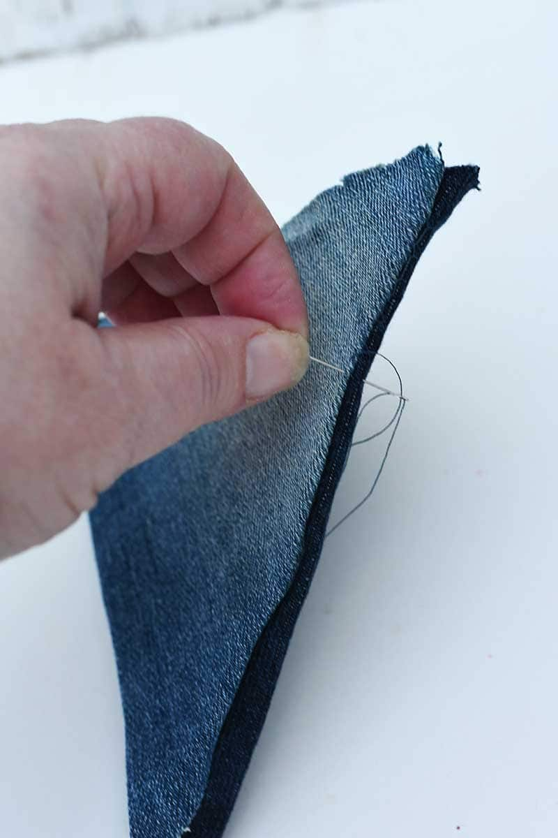 Hand stitching the triangles