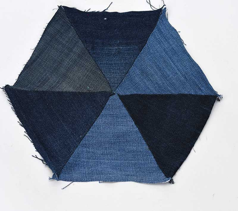 Making a patchwork denim placemat in a hexagon shape