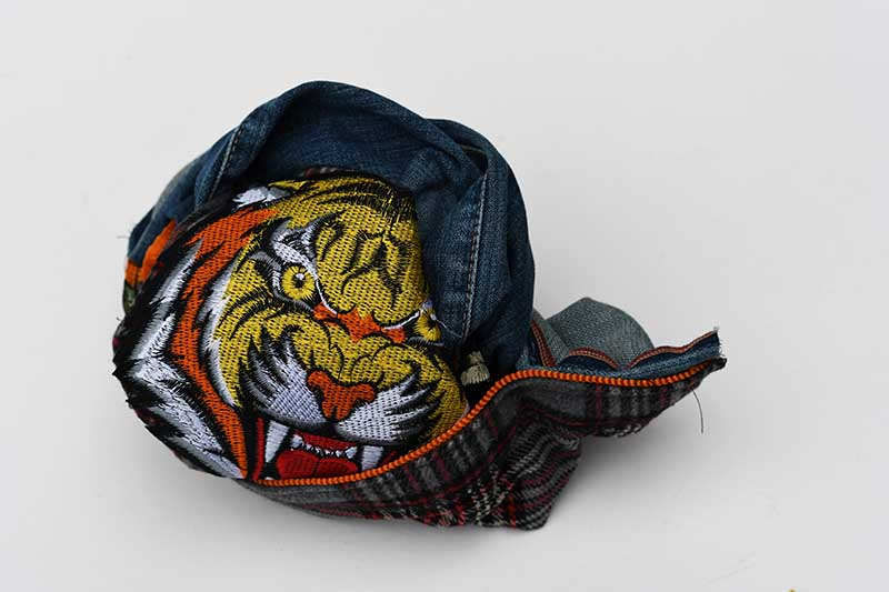 turning the tiger pillow right sides out