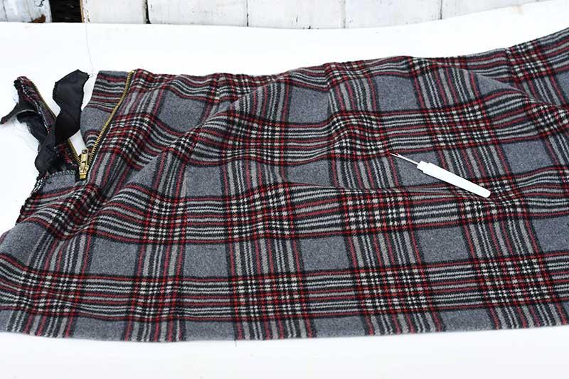unpicked tartan skirt