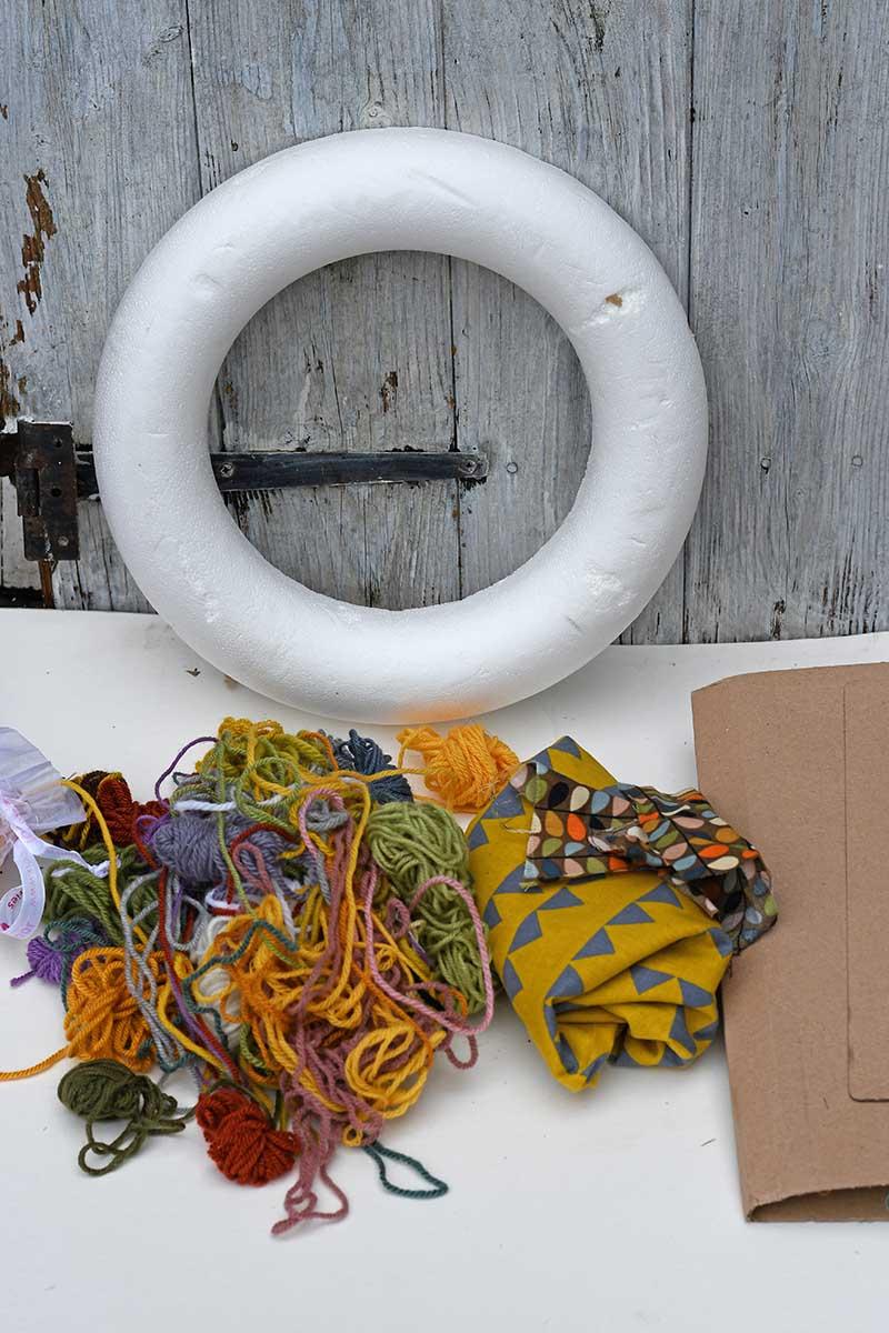 yarn, fabric wreath ring
