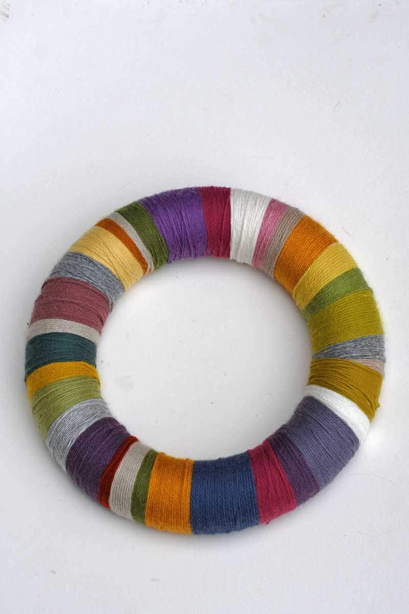 Scrap yarn wreath