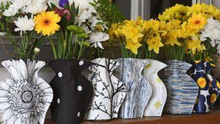 paper vase mason jar sleeves on mantle