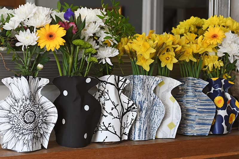 paper vase mason jar sleeves on mantle