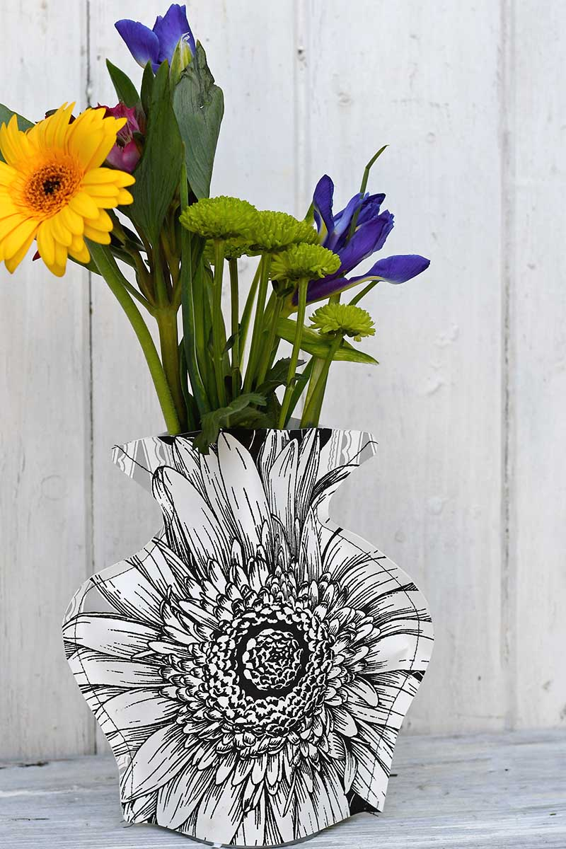 Monochrome paper vase with flowers